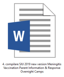 4. compilare SJU 2019 new version Meningitis Vaccination Parent Information & Response Overnight Camps